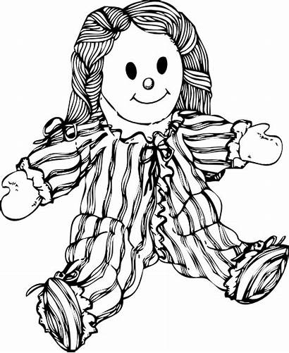 Doll Clip Stuffed Clipart Clker Svg Coloring