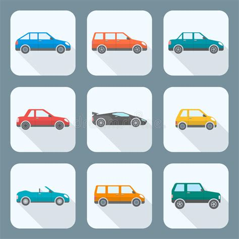 Colored Flat Style Various Body Types Of Cars Icons