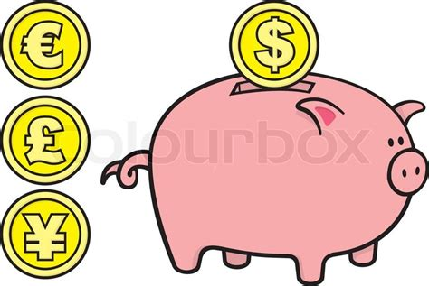 Pink Piggy Bank Cartoon Illustration With Coins On White