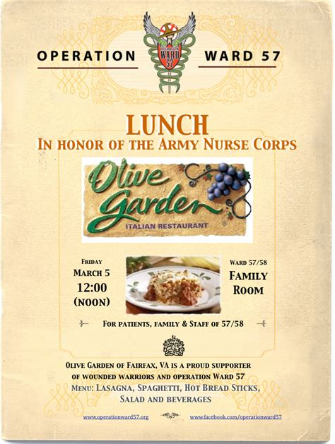 olive garden hours of operation lunch in honor of the army corps operation ward 57