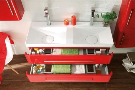 mobilier de salle de bain double vasque emy rouge laque