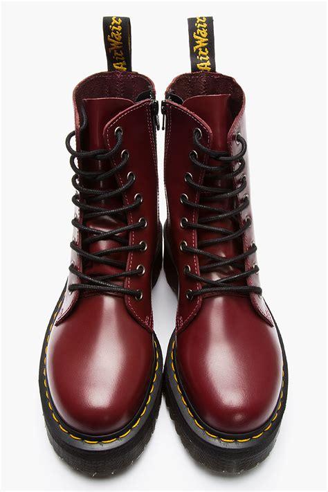 lyst dr martens burgundy leather quad retro jadon eye boots  purple  men