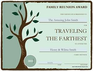 Free printable awards for the family reunion for Free printable family reunion certificates