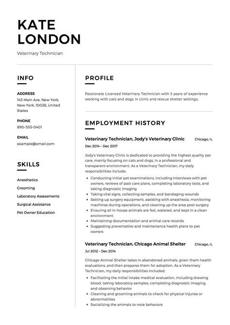 Tech Resume by Guide Veterinary Technician Resume 12 Sles Pdf