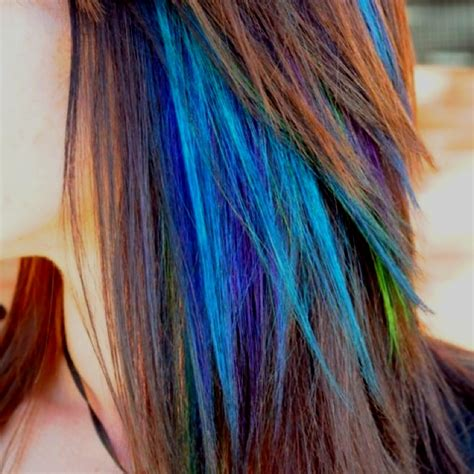 Peacock Colored Highlights Hairhairstyles Pinterest