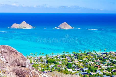 Mokulua Islands, Oahu Stock Image. Image Of Cyan, Hawaii