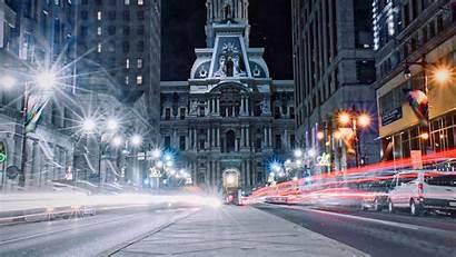 Lights Architecture Night Philadelphia Usa Widescreen