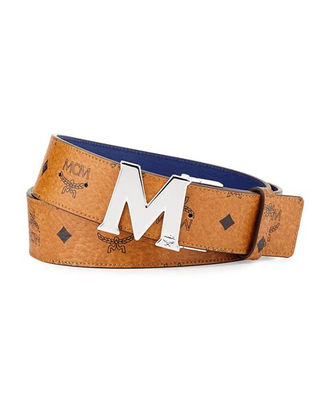 m designer belt lyst mcm reversible m buckle monogram belt in blue for