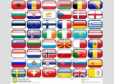 All European Flags Rectangle Glossy Buttons Stock