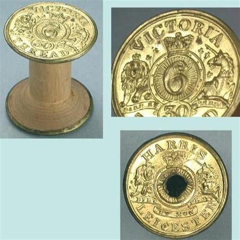 antique brass wood queen victoria thread spool circa