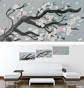 Tableau Deco Noir Et Blanc : tableau cerisier en fleurs peint la main ~ Teatrodelosmanantiales.com Idées de Décoration