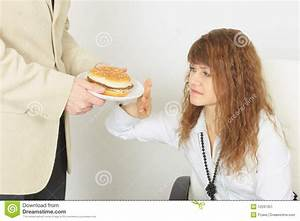Man Refuses Fast Food In The Kitchen Royalty-Free Stock ...