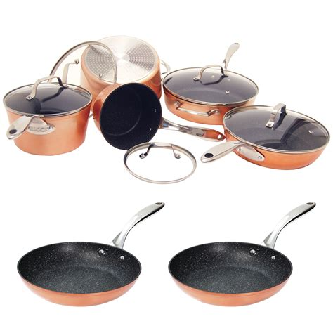 rock  starfrit  piece cookware set bonus  copper fry pan  copper fry pan