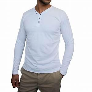 Tee Shirt Homme Manches Longues : homme t shirt manches longues col v blanc achat vente t shirt cdiscount ~ Melissatoandfro.com Idées de Décoration