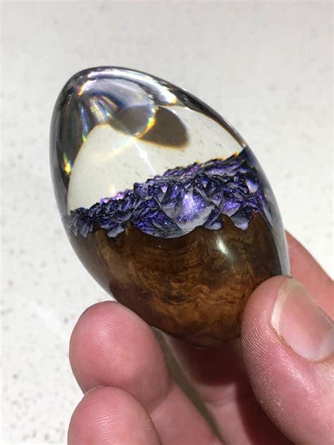 artist crafts wood  resin dragon eggs  glitter