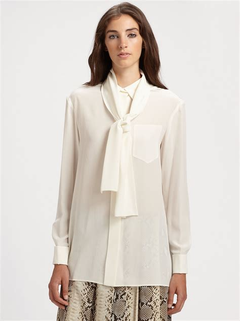 silk white blouse chloé silk blouse in white lyst