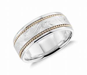 Two tone paisley wedding ring in 14k white gold and yellow for Gold and white gold wedding rings