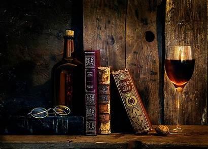 Wine Books Glasses Desktop Wallpapers Still Retro