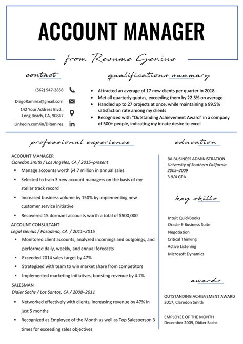 Account Profile Resume by Account Manager Resume Sle Writing Tips Resume Genius