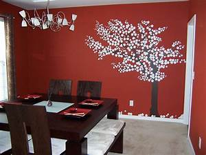 Dining room red small with tree sticker wall