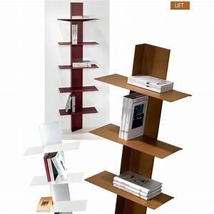 Libreria moderna Lift da parete a colonna in acciaio 5 mensole