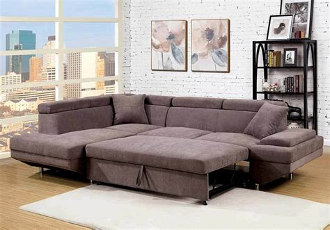 Loveseat Pull Out Bed by Versatile Sectional Sofa Flannelette Fabric Brown Pull Out