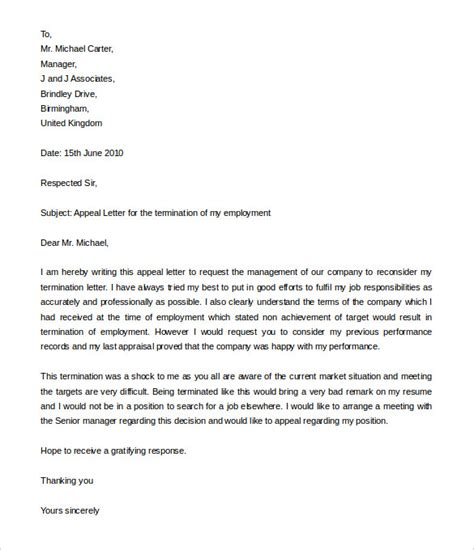 job termination letters  word  documents