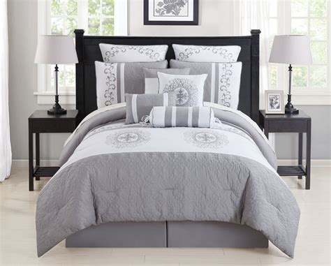 20731 grey bedding sets white comforter top goose vs alternative