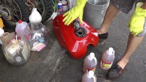 tank rust gas remove motorcycle clean vinegar using