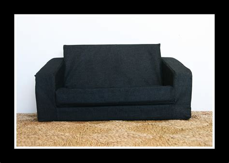 Flip Out Loveseat by Flip Out Sofa Blue Denim