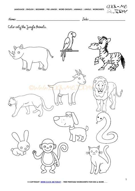 jungle animals worksheet activity sheet color 1