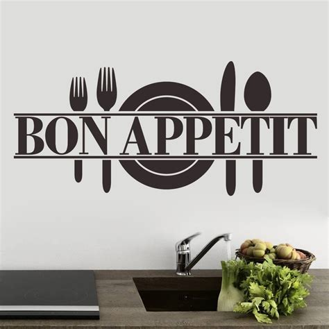 stickers cuisine bon appetit kitchen restaurant quote wall sticker decal uk