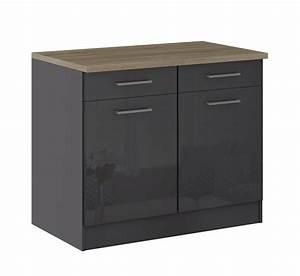 Küchen Unterschrank 40 Cm Breit : k chen unterschrank m nchen 2 t rig 100 cm breit hochglanz grau graphit k che m nchen ~ Indierocktalk.com Haus und Dekorationen