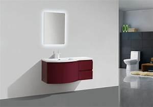 ensemble meubles de salle de bain couleur noix blanc With meubles de salle de bain forme arrondie