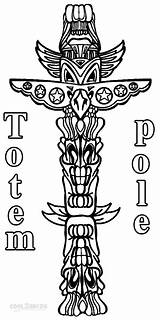 Totem Pole Coloring Pages Printable Poles Print Cool2bkids Animal Printables American Totems Craft Children Crafts Preschool sketch template