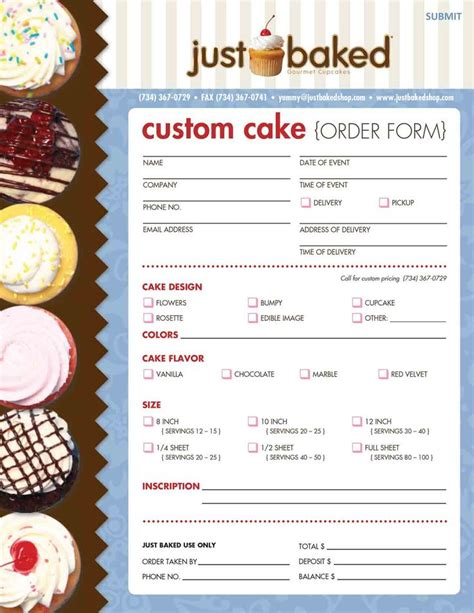 cake order forms images  pinterest bakery