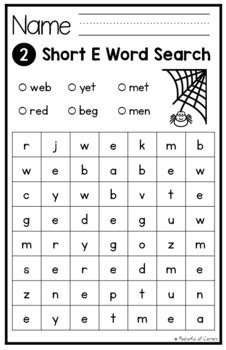 short vowels cvc word searches  pocketful  centers tpt