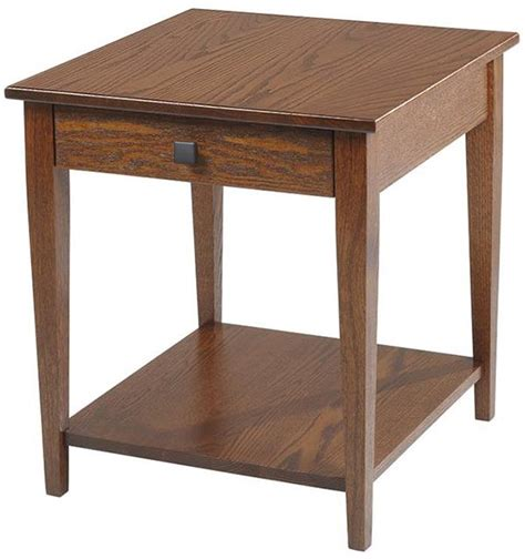 this shaker woodland end table with shelf amish oak or