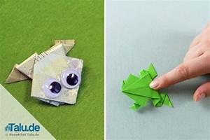 Origami Schmetterling Anleitung : origami frosch falten aus papier geldschein basteln ~ Frokenaadalensverden.com Haus und Dekorationen