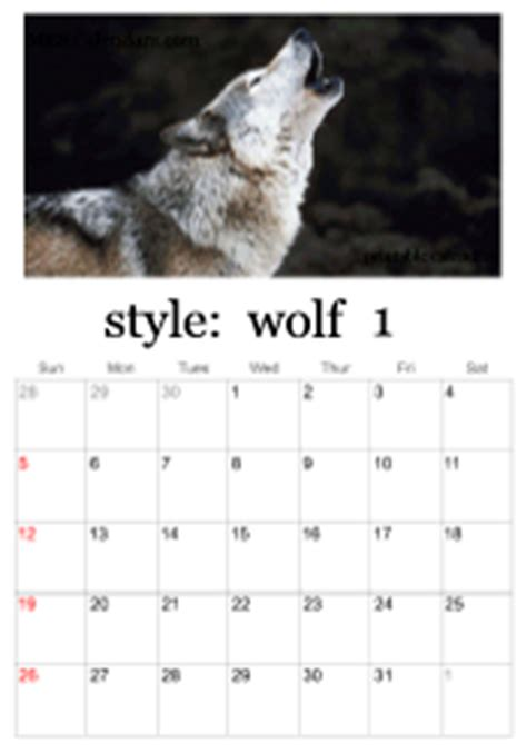 printable wolf calendars calendar maker wolves