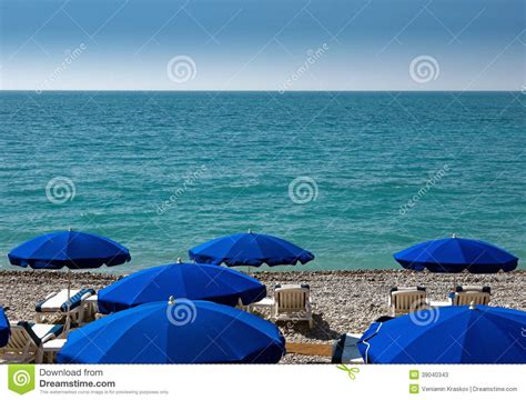 Nice Beach With Umbrellas Stock Photo Image 39040343