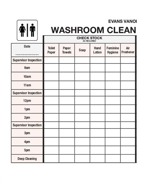 restroom cleaning template just b cause