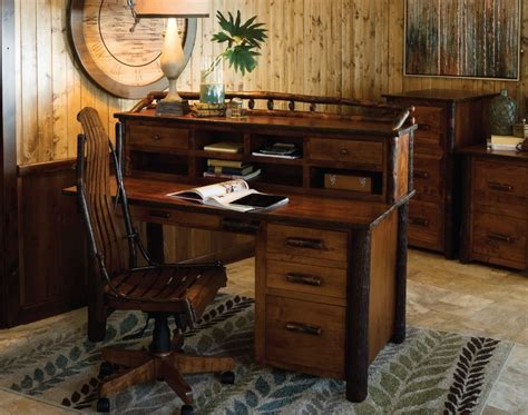 rustic wood office desk amish rustic hickory secretary desk with topper solid wood