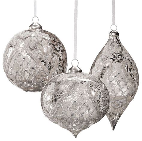 set of six silver vintage glass christmas ornaments with