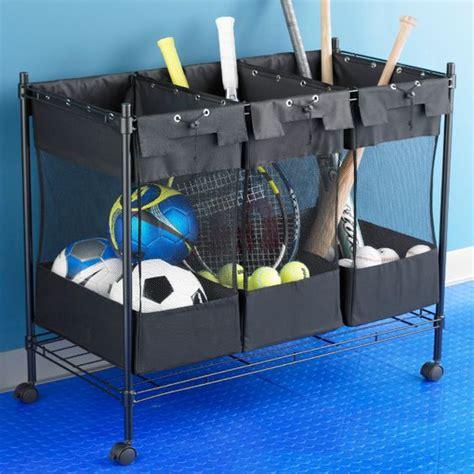 garage sports storage storage bins sports equipment and the container on