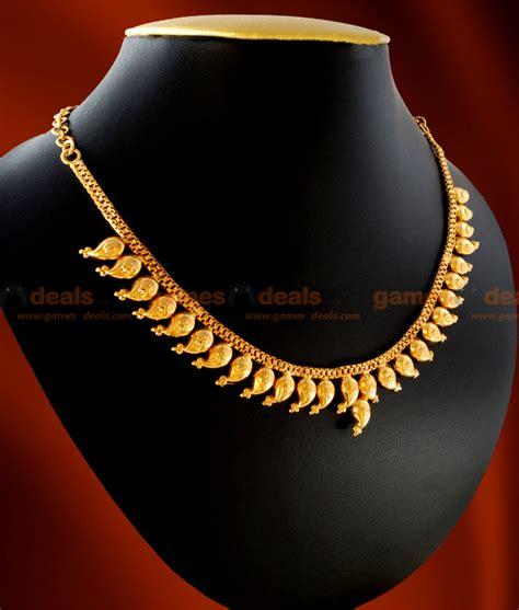 nckn12 gold plated jewellery traditional maanga mango necklace design
