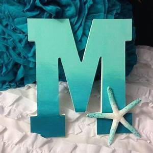 8quot hand painted ombre wooden letter with sea star With beach themed letters