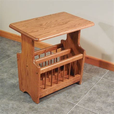 "Solid Oak Paddle Country Style Magazine Rack End Table   14"" x 22""   The Oak Furniture Shop"