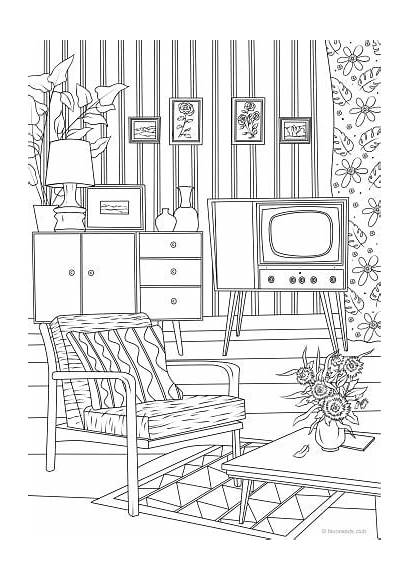 Living Retro Coloring Printable Pages Adult Favoreads