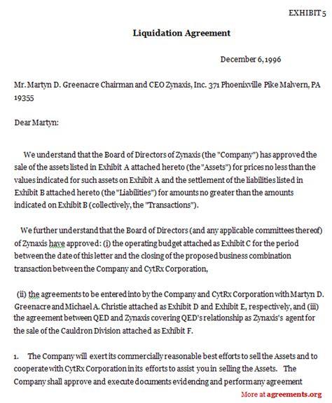 liquidation agreement template  word